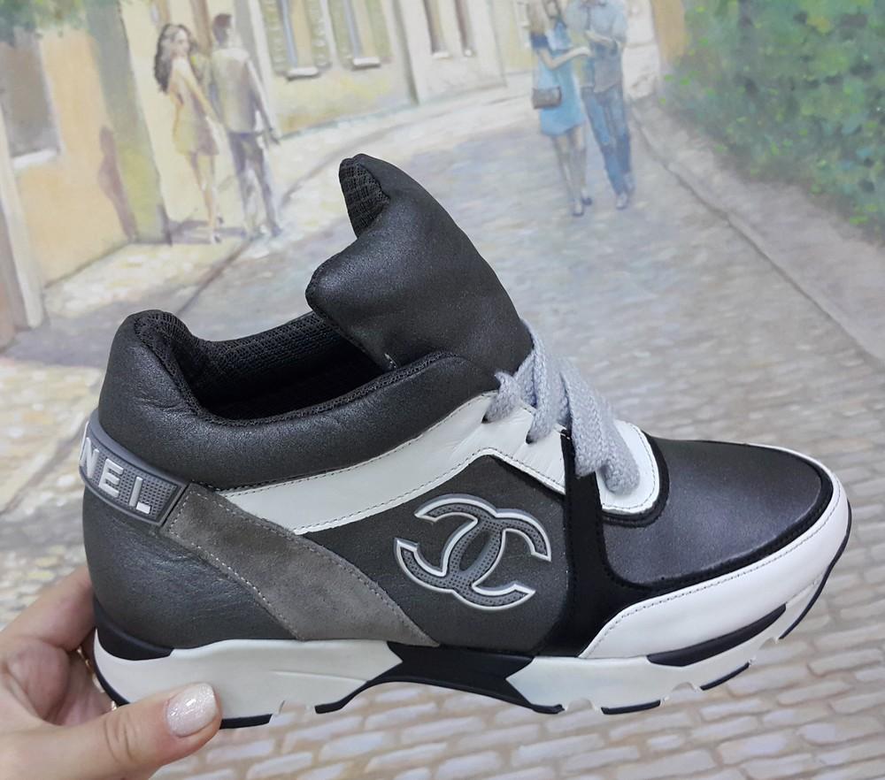 Невероятные кожаные кроссовки шанель.chanel кожа осень деми кроссовки  ботинки фото №1 6bad54828b5