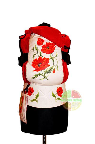Эрго-рюкзак — сочные маки (рисунок ручной работы) тм »citrus sling» фото №1