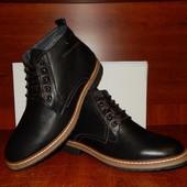Мужские кожаные ботинки зимние Hillfiger черные