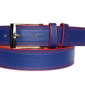 Мужской ремень пояс синего цвета с красной окантовкой (П-025)