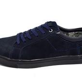 Зимние мокасины нубук multi shoes blue