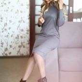 Свободное платье-миди 3 цвета, реал фото