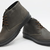 Зимние Кожаные Мужские Ботинки Y-3 Коричневые