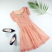 Перепродажа люда M-L Oasis пудровое платье с плиссированной юбкой!0309