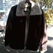 Кожаный пилот на зиму ,теплая куртка дубленка