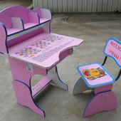 Парта + стул 2878, алфавит, таблица умножения, розовая