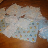Бортики, москитная сетка, постель и балдахин в детскую кроватку б/у защита, постіль, голубая