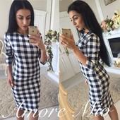 Женское платья клетка Новинка осени