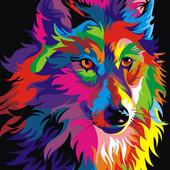Картина по номерам Радужный волк Turbo VK004