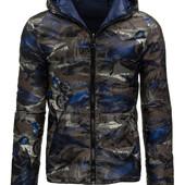 Мужская зимняя стёганая куртка с капюшоном двусторонняя