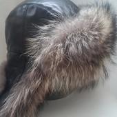 Меховая ушанка, кожа+енот, 58 размер