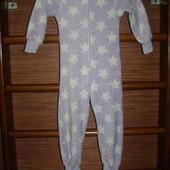 Пижама флисовая,девочке на 4-5 лет, рост до 110 см, пушистый флис