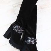 сапоги сапожки Giuseppe Zanotti черные замшевые демисезонные на толстом устойчивом каблуке