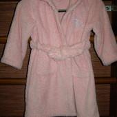 Халат флисовый,девочке на 3-4 года, рост до 104 см, пушистый флис