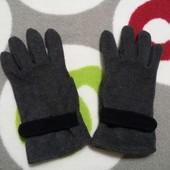Теплые черные перчатки флис
