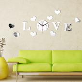 Наклейки на стену часы Love