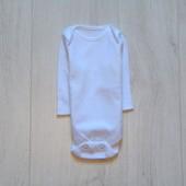 Белоснежный бодик с длинным рукавом для новорожденного. F&F. Размер 0-1 месяц