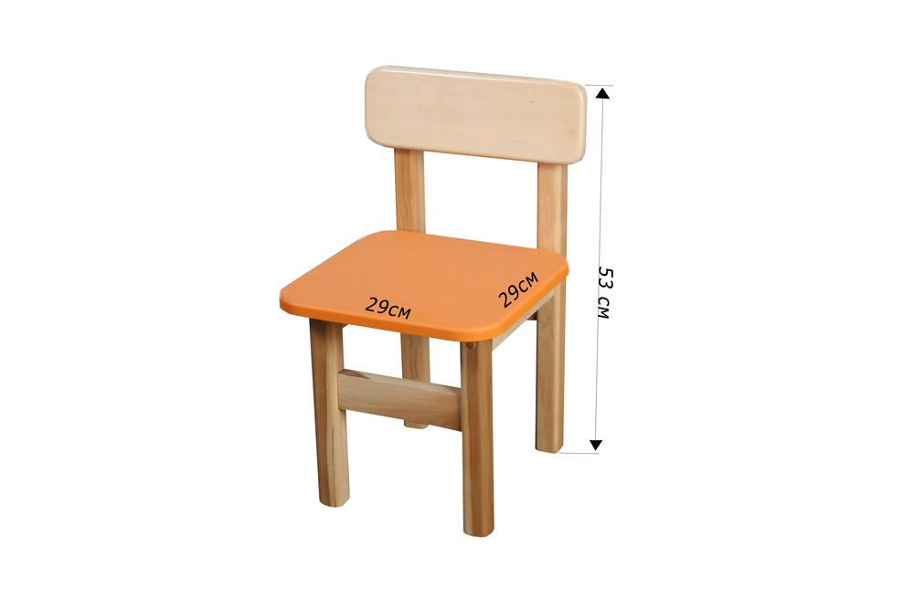 Детский стульчик деревянный цветной, Финекс (Оранжевый) фото №1