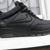 Ботинки Nike Air Max, р. 40-45, натур. кожа на меху, зима -30С. черн., синий, код Si-628