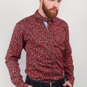 Рубашка мужская с мелким узором №243KF011 красный,сиреневый