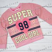 Розовый Свитер на девочку, реглан кофта, 110 128 размер, Турция 100% хлопок