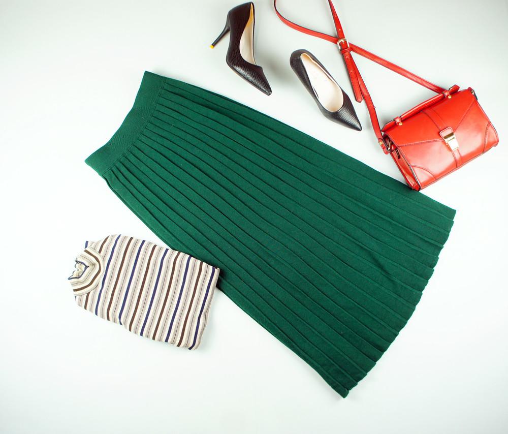 13fa911ec24 Xs-m benneton теплая юбка-плиссе изумруд длины миди! фото №1