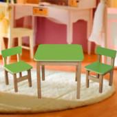 Стол деревянный цветной и 2 стульчика, цвет салатовый, арт 091 Финекс+