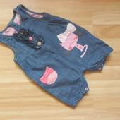 Фирменный джинсовый комбинезон Next малышке 6-9 месяцев состояние отличное