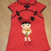 Стёганное платье тёплое на синтепоне с объёмной апликацией 120 р