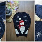 Стильный мужской свитер со снеговиком,р-р ХЛ