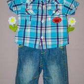 Комплект Джинсы + рубашка 0-3 мес. Miniclub