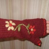 стильные тёплые рукавички митенки 100% шерсть Непал