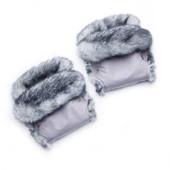 Рукавички, муфта для мамы на коляску (серый + мех кролик) (03-00684-0)