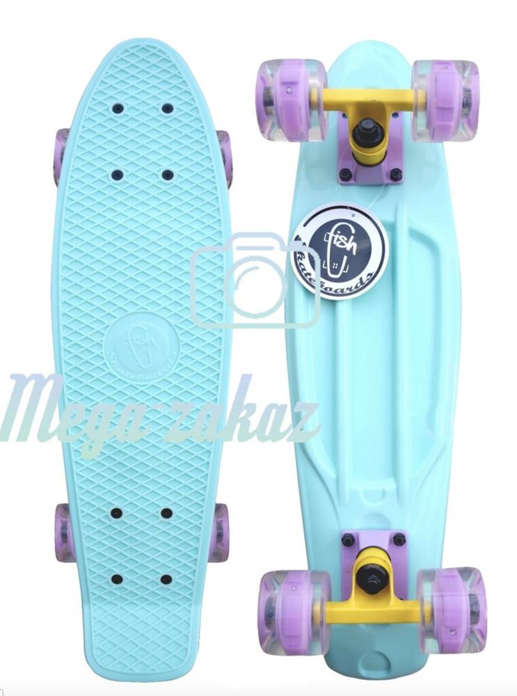 Скейтборд/скейт пенни борд (Penny Board) пенни со светящимися колесами: Mint, Fishskateboards фото №1