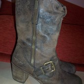 Кожаные фирменные ботинки replay 40-40.5 р сост хорош