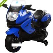Детский мотоцикл M 3208EL-4 eva колеса+кожаное сиденье,синий