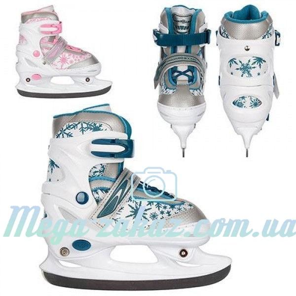 Ледовые коньки/хоккейные коньки раздвижные Profi 5042: 34-37 размер, 2 цвета фото №1