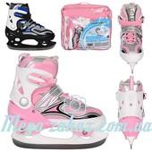 Ледовые коньки/хоккейные коньки раздвижные Profi 4043: 36-39 размер, 2 цвета