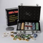 Настольный покер M 2779, 200 фишек (11,5г-с номиналом), 2 колоды карт,кубик, в алюминиевом чемодане