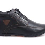 Код: gr1185 Мужские класичные зимние теплые ботинки на шнуровке черного цвета