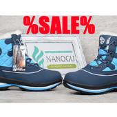 Термо ботинки кожаные на цигейке Outdoor Waterproof женские влагостойкие синие
