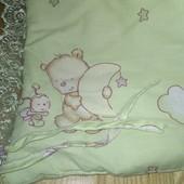Детское постельное белье мишки зелёное балдахин