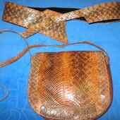 Шикарный комплект! Сумочка и пояс. Натуральная кожа змеи! 100%