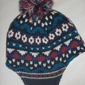 шапка вязанная на флисе на 3-6 лет