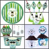 Посуда и декор для Дня Рождения в стиле Little Man (Маленький мужчина)
