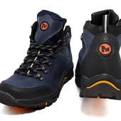 Ботинки Зимние Merrell Gore-Tex Blue, кожа 40-45р