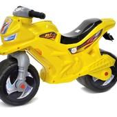 Мотоцикл-беговел 2-х колесний желто-голубой Орион 501