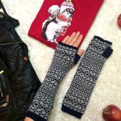 Теплые перчатки митенки