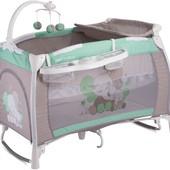 Манеж-кровать bertoni (lorelli) ilounge green&grey elephants