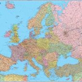 Политическая карта Европы с флагами м-б 1:3 850 000  Не ламинированная